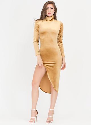 Dreamy Velvet Turtleneck High-Low Dress