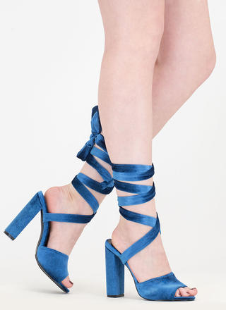 Velvet Victory Chunky Lace-Up Heels