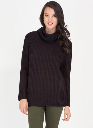 Having A Cowl Neck Knit Sweater