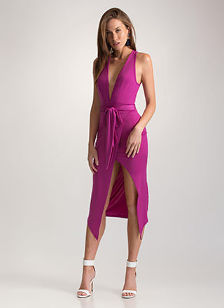 Double Date Plunging Tied Midi Dress
