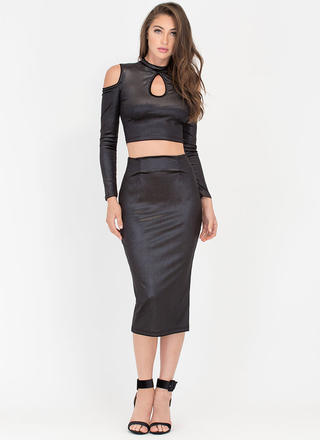 Just Shine Two-Piece Cold-Shoulder Dress