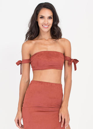 Soft Opening Faux Suede Bandeau Top