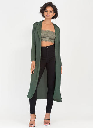 Glam Life Belted Satin Duster Jacket