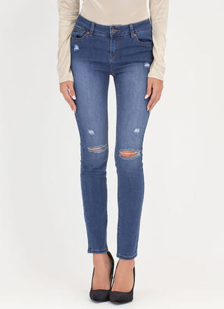 Daily Highlight Distressed Skinny Jeans