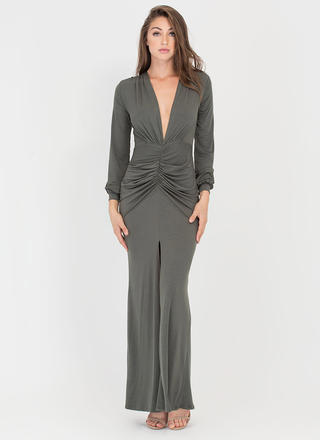Flow Getter Plunging Ruched Maxi Dress