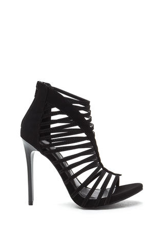 VIP Line Caged Faux Nubuck Heels