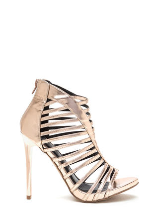 VIP Line Caged Metallic Stiletto Heels