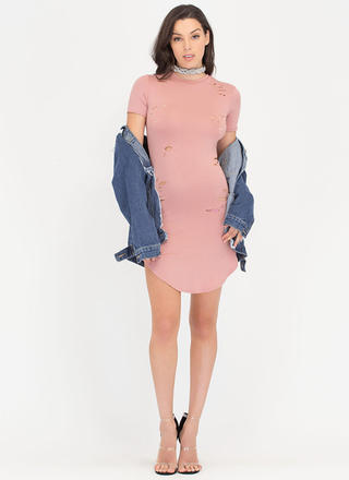 Hole Shebang Distressed Round Hem Dress