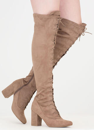 Fierce Chunky Thigh-High Lace-Up Boots