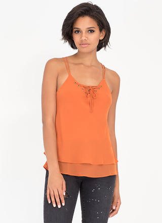 Double Or Nothing Lace-Up Cami Tank
