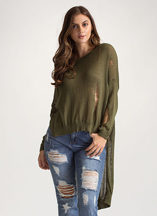 Destroy You Distressed High-Low Sweater
