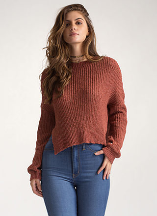 Warm Front High-Low Knit Sweater
