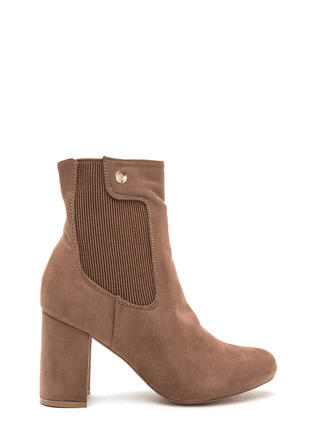 Chic All Day Chunky Faux Suede Booties