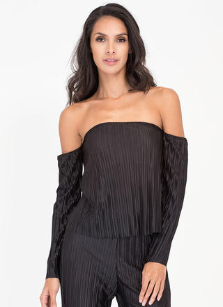 Pleats Me Satiny Long-Sleeve Top