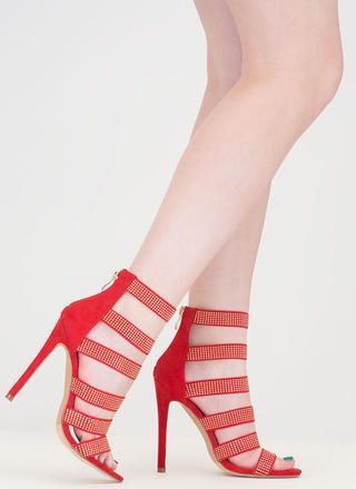 Gleam On Strappy Caged Stiletto Heels