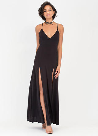 Bae Watch Double Slit Crisscross Dress