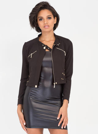X-cited Laced Zip-Up Moto Jacket
