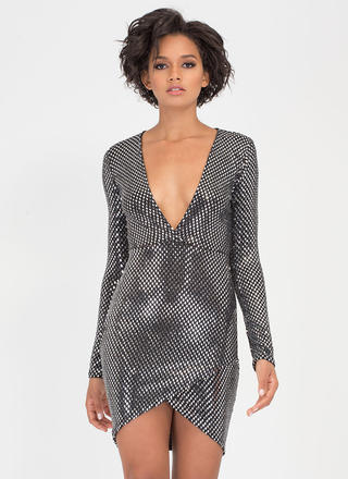 Disco Fever Plunging Mirrored Dress