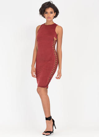 Weave It To Me Faux Suede Dress