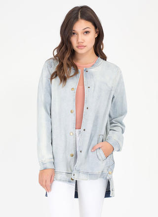 Denim Delight Longline Bomber Jacket