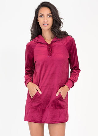 Hood Luck Velvet Sweatshirt Dress