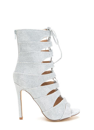 Glisten Here Metallic Lace-Up Heels