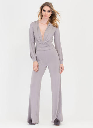 Chics To Me Plunging Palazzo Jumpsuit