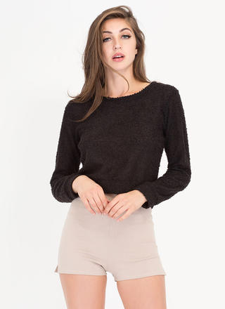 Fuzz Worthy Cropped Knit Sweater