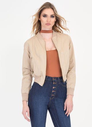 Get On Crop Bomber Jacket