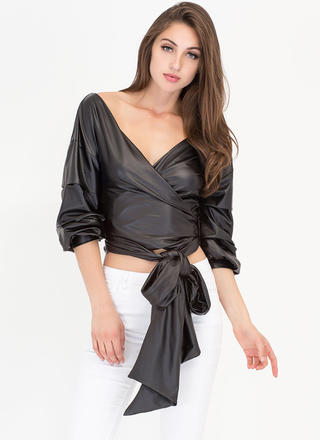 Smooth Ride Tied Puff Sleeve Wrap Top