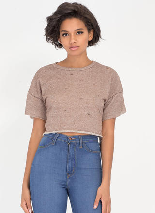 Oh Slit Distressed Terry Crop Top