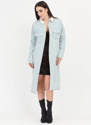 Cozy Up Shearling Denim Duster Jacket