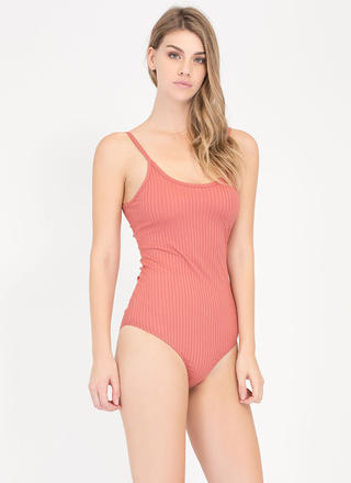 Scoop There It Is Ribbed Cami Bodysuit