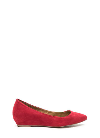 Here's Pointing At You Faux Suede Flats