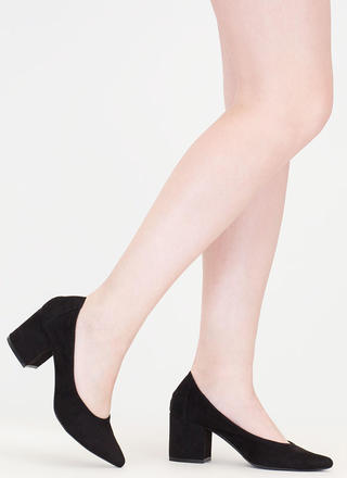 Block Magic Pointy Faux Suede Heels
