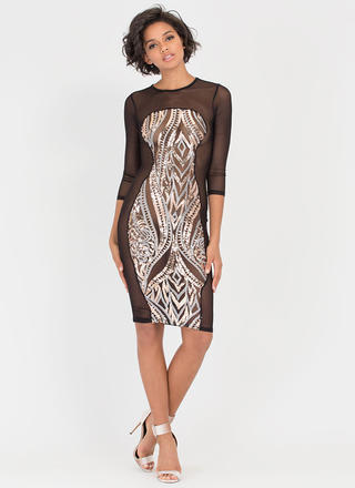 Hourglass Figure Sequined Mesh Dress