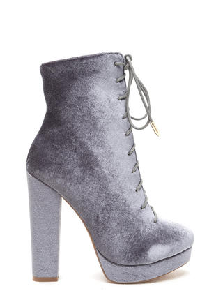 Spellbound Velvet Lace-Up Chunky Booties