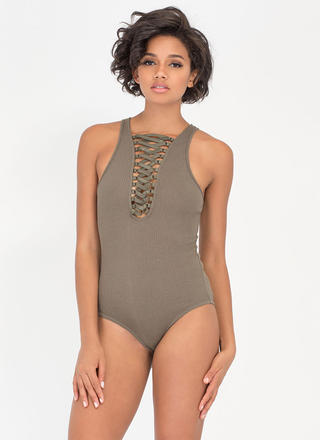 Tied With Ribbon Rib Knit Bodysuit