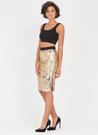 Party Downstairs Matte Sequined Skirt