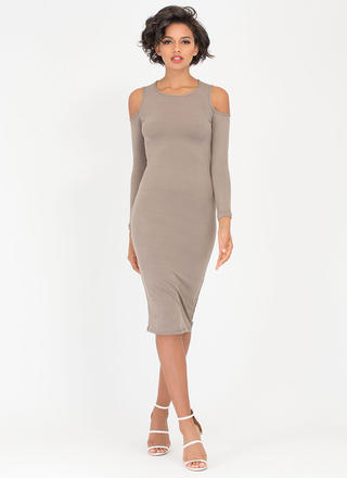 Free Shrugs Cold Shoulder Midi Dress