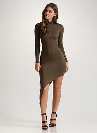 X Game Cut-Out High-Low Bodycon Dress