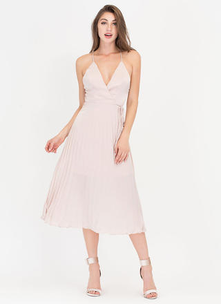 Cross Me Plunging 'N Pleated Satin Dress