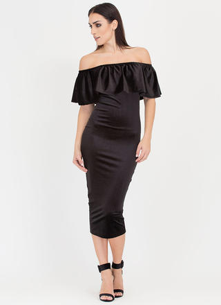 Velvet Vixen Ruffled Off-Shoulder Dress