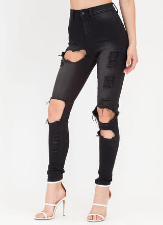 You Know It Cut-Out Distressed Jeans