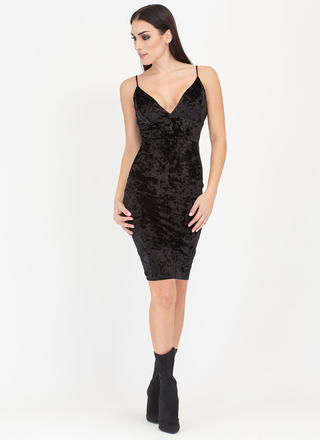 Enchanting Crushed Velvet Midi Dress