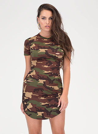 Distress Call Camo Round Hem Dress