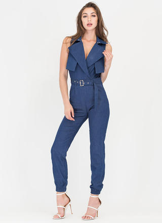 One Of A Kind Belted Denim Jumpsuit