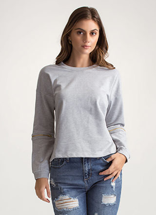 Zipping Elbows Oversized Sweatshirt