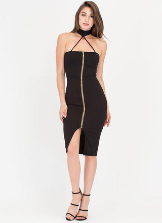 Dare It All Strappy Choker Midi Dress