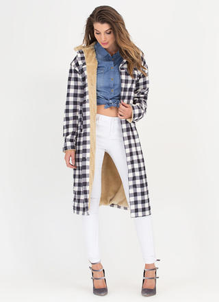 Born To Be Plaid Shearling Duster Coat